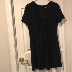 Short Sleeve Black Dress with Lace